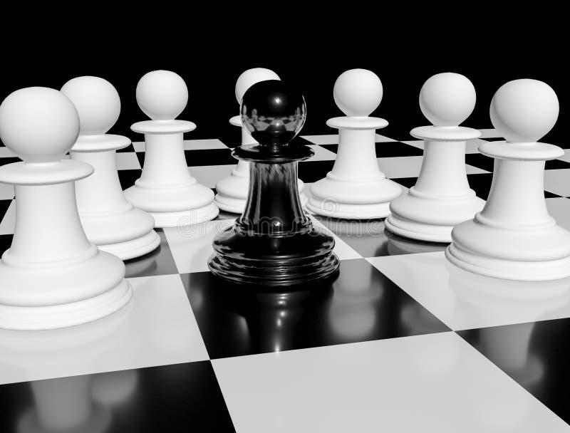 Ένα μαύρο ενέχυρο σκακιού στη σκακιέρα που περιβάλλεται από τα άσπρα ενέχυρα ελεύθερη απεικόνιση δικαιώματος