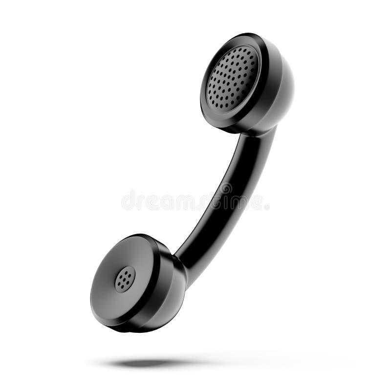 Ένα μαύρο τηλεφωνικό μικροτηλέφωνο διανυσματική απεικόνιση