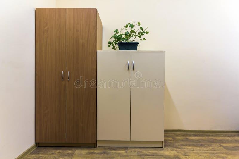 Ένα μεγάλο και μικρό ντουλάπι με τις πράσινες εγκαταστάσεις σε το στοκ φωτογραφίες με δικαίωμα ελεύθερης χρήσης