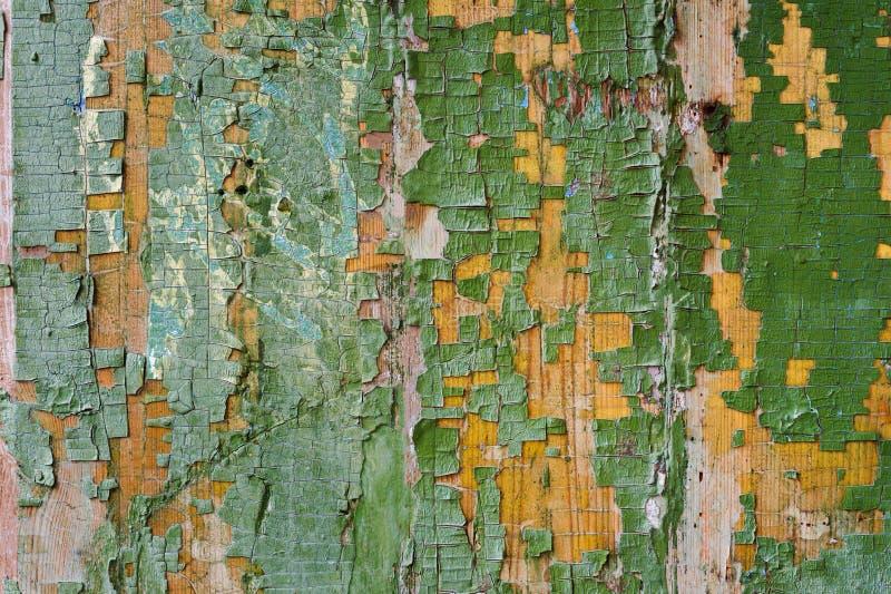 Ένα μεγάλο κατασκευασμένο υπόβαθρο ο παλαιός κίτρινος πίνακας καλύπτεται με το πράσινο χρώμα Πράσινο χρώμα Exfoliating στα μεγάλα στοκ φωτογραφία