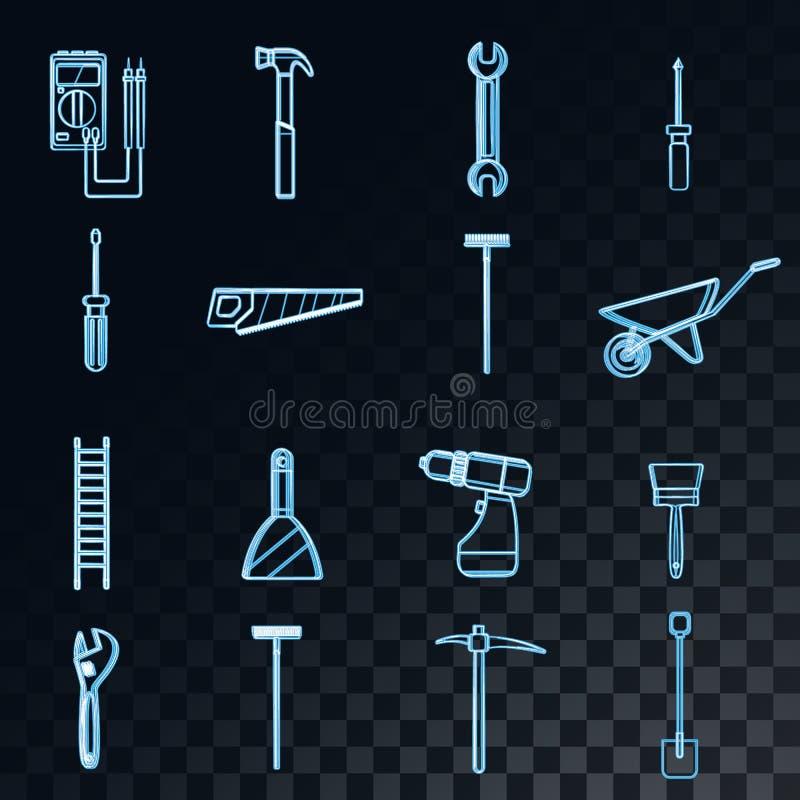 Ένα μεγάλο σύνολο αφηρημένων καμμένος μπλε εικονιδίων νέου της κατασκευής, υδραυλικά, κήπος, επισκευή, εργαλεία: φτυάρι, πριόνι,  απεικόνιση αποθεμάτων