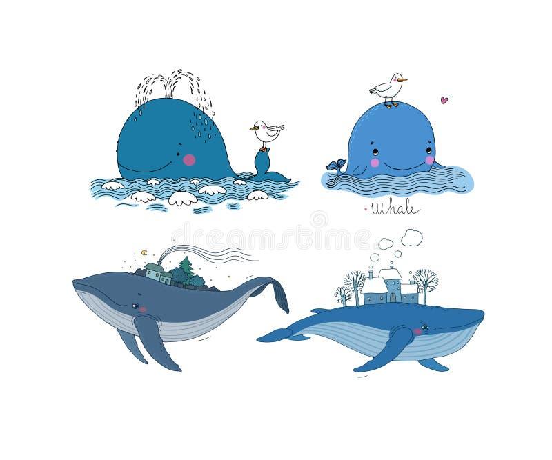 Ένα μεγάλο σύνολο με τις φάλαινες ελεύθερη απεικόνιση δικαιώματος