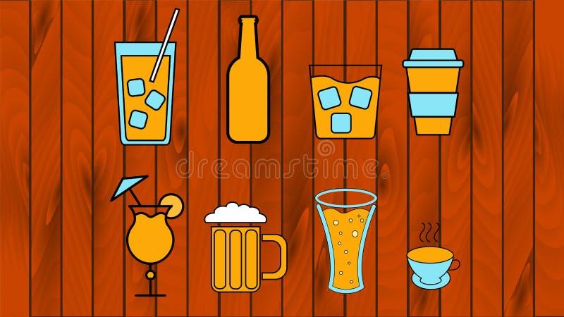 Ένα μεγάλο σύνολο οινοπνευματωδών ποτών, κοκτέιλ, μπύρας, βότκας, κρασιού, ουίσκυ, καφέ και τσαγιού σε ένα ξύλινο υπόβαθρο r απεικόνιση αποθεμάτων