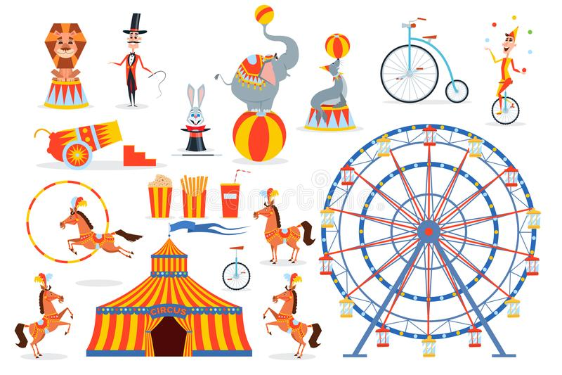 Ένα μεγάλο σύνολο χαρακτήρων και αντικειμένων τσίρκων διανυσματική απεικόνιση
