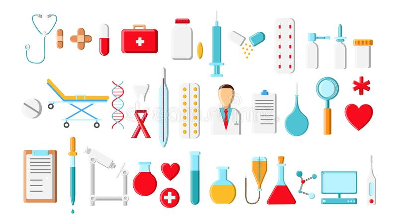 Ένα μεγάλο όμορφο φωτεινό χρωματισμένο σύνολο ιατρικών στοιχείων και εργαλείων ενός γραφείου φαρμακείων ή του γιατρού, σύριγγες τ ελεύθερη απεικόνιση δικαιώματος