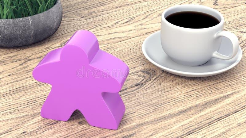 Ένα μεγάλο meeple δίπλα σε ένα φλιτζάνι του καφέ τρισδιάστατος δώστε απεικόνιση αποθεμάτων