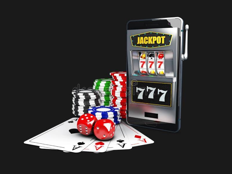 Ένα μηχάνημα τυχερών παιχνιδιών με κέρματα με τα τσιπ παιχνιδιού χρώματος, χωρίζει σε τετράγωνα και τις κάρτες πόκερ τρισδιάστατη απεικόνιση αποθεμάτων