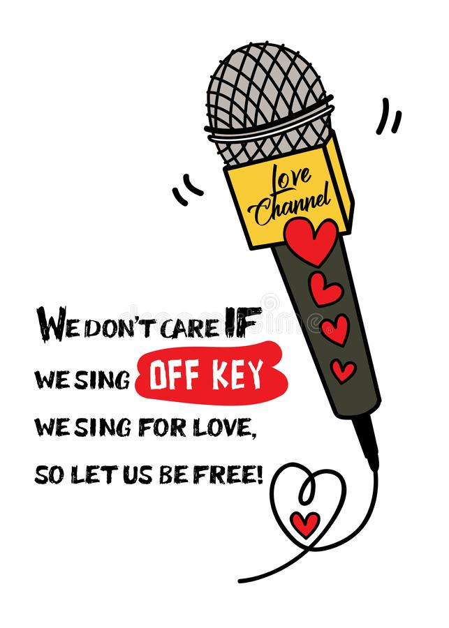 Ένα μικρόφωνο με τη μορφή καρδιών και ένα αστείο τυπογραφικό σχέδιο αποσπάσματος/αγαπούν το διανυσματικές απόθεμα ευχετήριων καρτ απεικόνιση αποθεμάτων