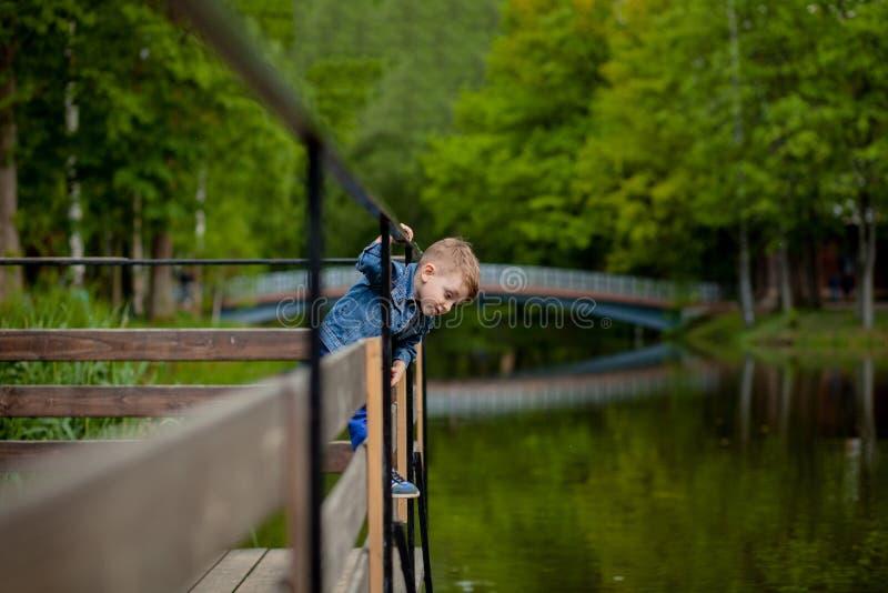 Ένα μικρό αγόρι αναρριχείται σε ένα κιγκλίδωμα γεφυρών στο πάρκο Η απειλή του πνιξίματος Κίνδυνος στα παιδιά στοκ εικόνες