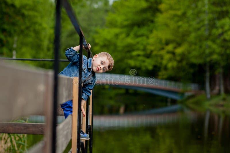 Ένα μικρό αγόρι αναρριχείται σε ένα κιγκλίδωμα γεφυρών στο πάρκο Η απειλή του πνιξίματος Κίνδυνος στα παιδιά στοκ εικόνα
