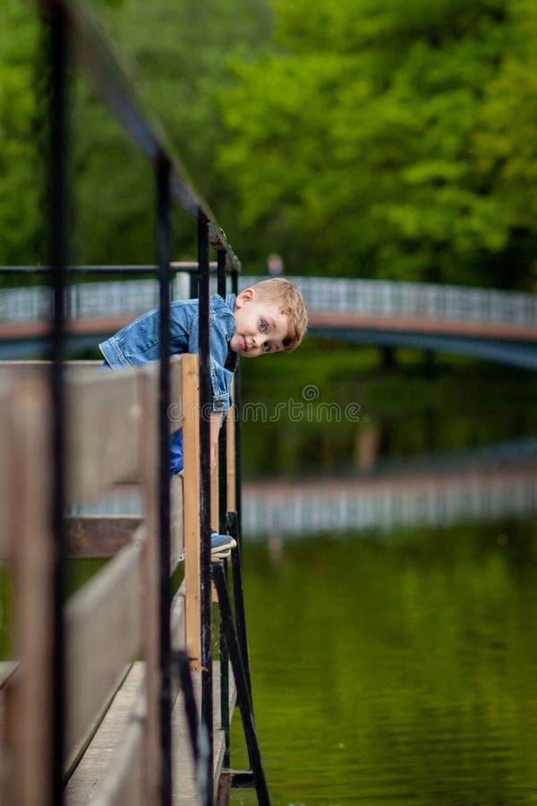 Ένα μικρό αγόρι αναρριχείται σε ένα κιγκλίδωμα γεφυρών στο πάρκο Η απειλή του πνιξίματος Κίνδυνος στα παιδιά στοκ εικόνες με δικαίωμα ελεύθερης χρήσης