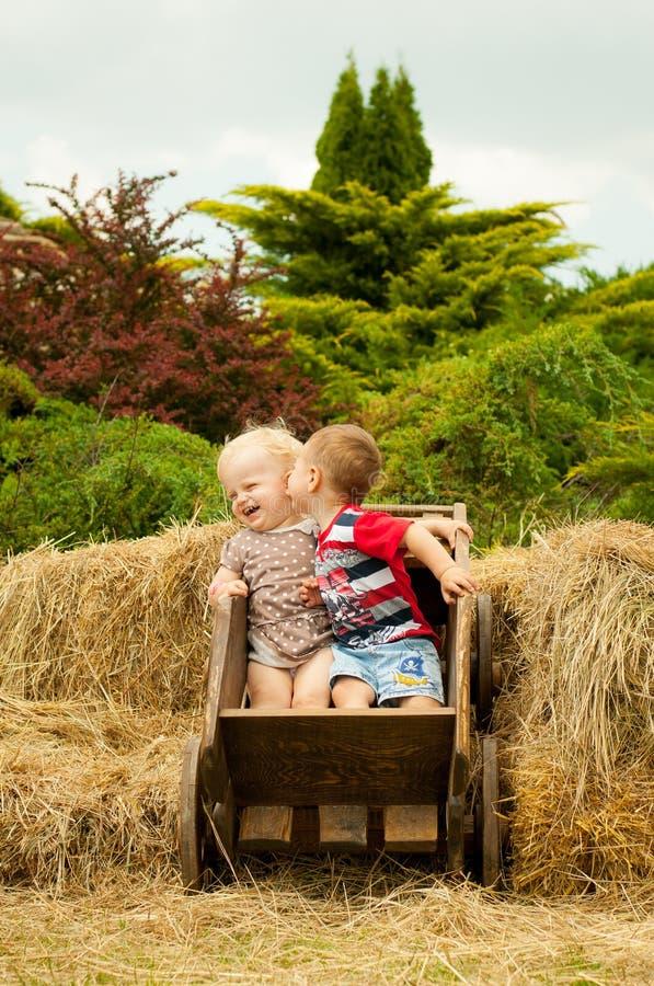 Ένα μικρό αγόρι φιλά το κορίτσι στο μάγουλο και γελά στοκ φωτογραφίες