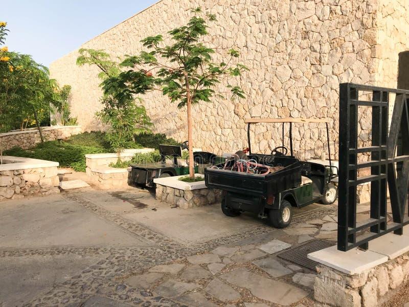 Ένα μικρό ηλεκτρικό αυτοκίνητο, μια ηλεκτρο κάρτα γκολφ φιλική προς το περιβάλλον για να παραδώσει τους ανθρώπους πράσινους στο υ στοκ εικόνες