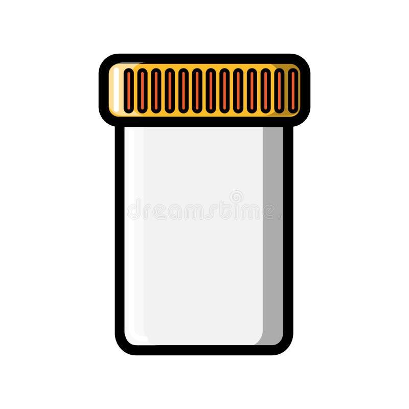Ένα μικρό ιατρικό βάζο φαρμακείων με ένα καπάκι για τη συλλογή των δοκιμών ή την αποθήκευση των ταμπλετών, κάψες, εικονίδιο χαπιώ ελεύθερη απεικόνιση δικαιώματος