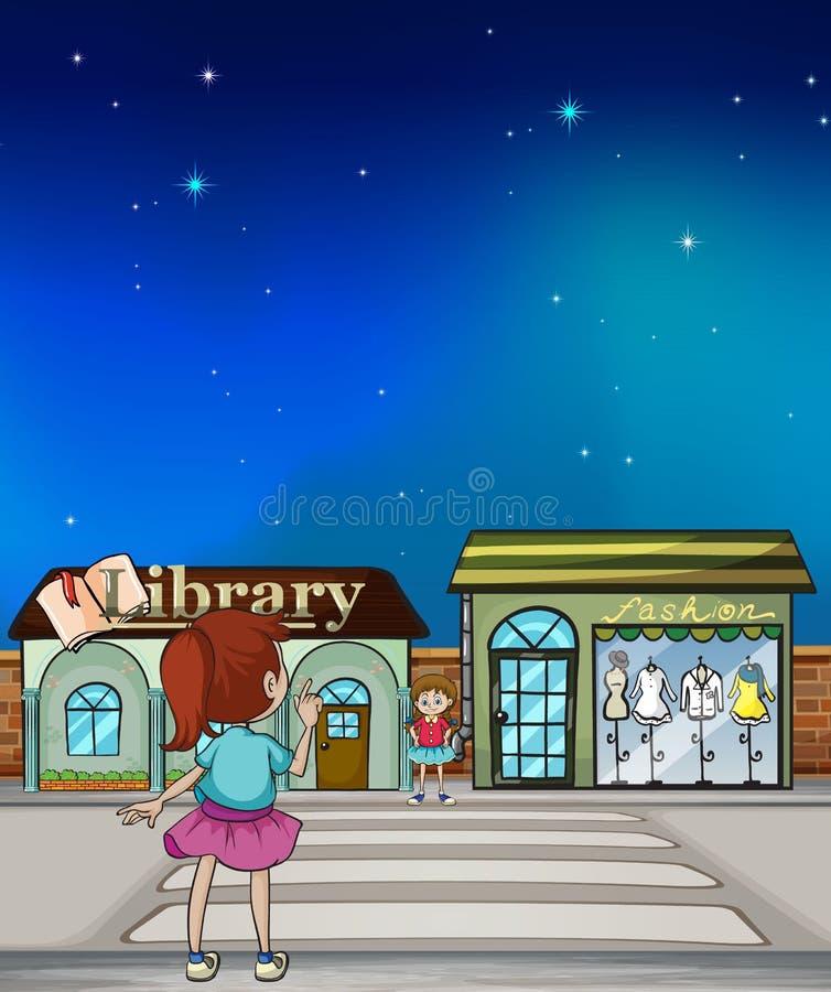 Ένα μικρό κορίτσι για να διασχίσει περίπου την οδό ελεύθερη απεικόνιση δικαιώματος
