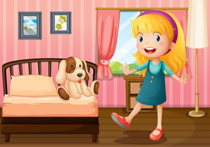 Ένα μικρό κορίτσι και το παιχνίδι της μέσα στην κρεβατοκάμαρα ελεύθερη απεικόνιση δικαιώματος