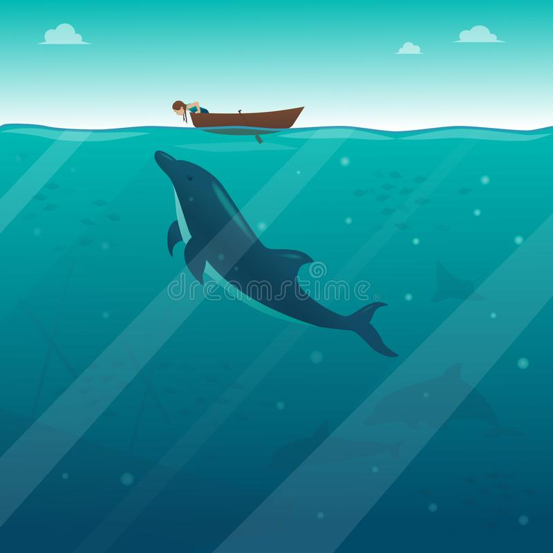 Ένα μικρό κορίτσι σε μια βάρκα που εξετάζει το νερό στο δελφίνι ελεύθερη απεικόνιση δικαιώματος