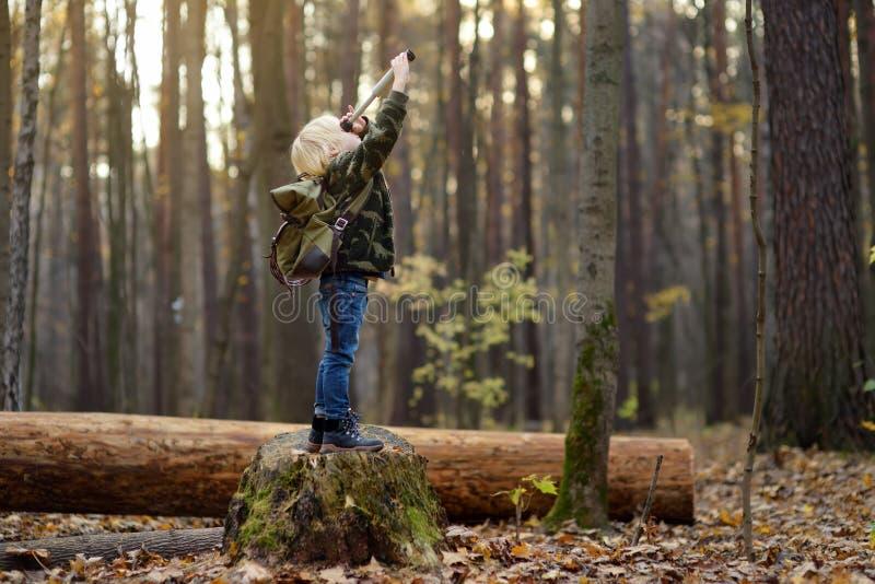 Ένα μικρό προσκοπάκι με σπρέι κατά την πεζοπορία στο φθινοπωρινό δάσος Το παιδί κοιτάζει μέσα από ένα σπρέι στοκ εικόνα με δικαίωμα ελεύθερης χρήσης