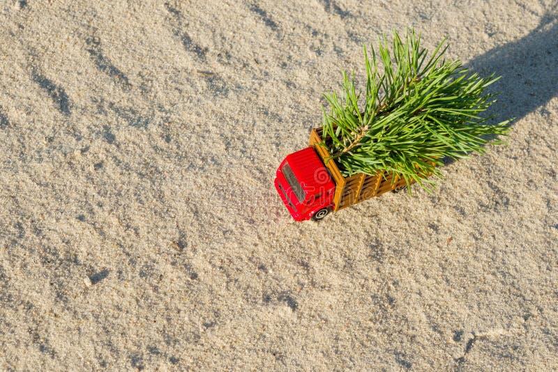 Ένα μικρό φορτηγό παιχνιδιών με ένα χριστουγεννιάτικο δέντρο σε έναν δασικό δρόμο χωρών στοκ φωτογραφία με δικαίωμα ελεύθερης χρήσης