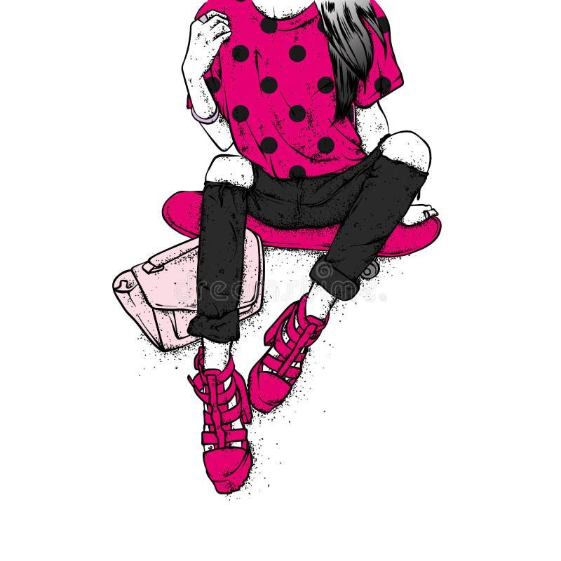 Ένα μοντέρνο κορίτσι στα ψηλοτάκουνα παπούτσια, τα τζιν και μια τσάντα μόδας κάθεται skateboard επίσης corel σύρετε το διάνυσμα α απεικόνιση αποθεμάτων