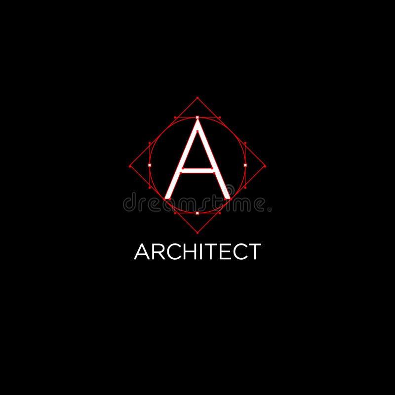 Ένα μονόγραμμα Λογότυπο ή οικοδόμηση αρχιτεκτονικής Άσπρη επιστολή με ένα σχέδιο ελεύθερη απεικόνιση δικαιώματος