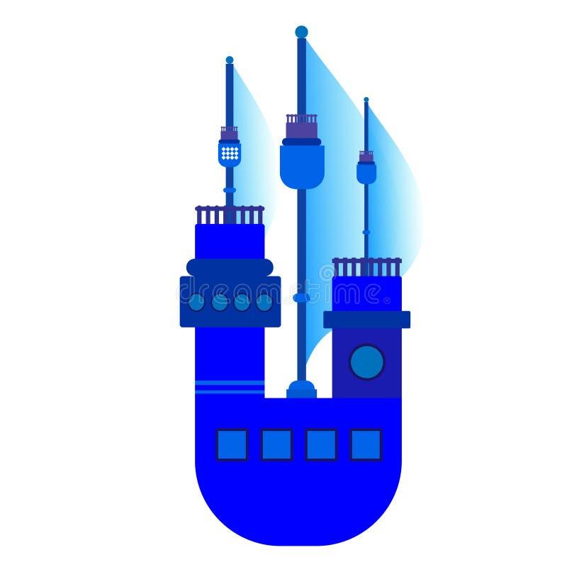 Ένα μπλε σκάφος με τα πανιά διανυσματική απεικόνιση