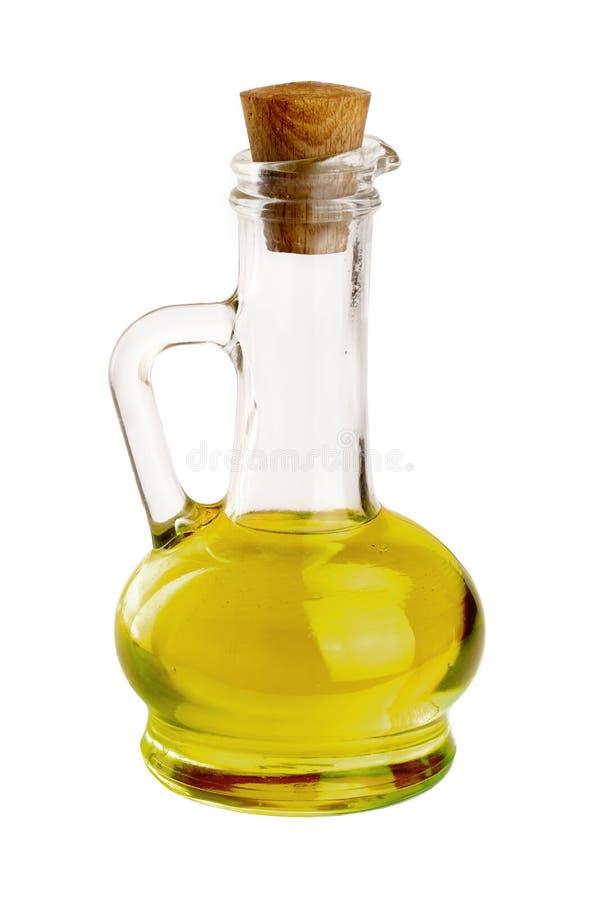 Ένα μπουκάλι γυαλιού με το ελαιόλαδο που απομονώνεται σε ένα άσπρο υπόβαθρο στοκ εικόνα