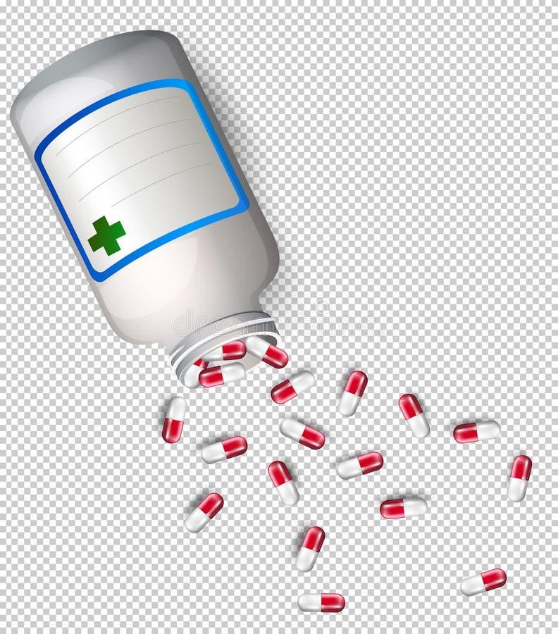 Ένα μπουκάλι της ιατρικής στο διαφανές υπόβαθρο διανυσματική απεικόνιση