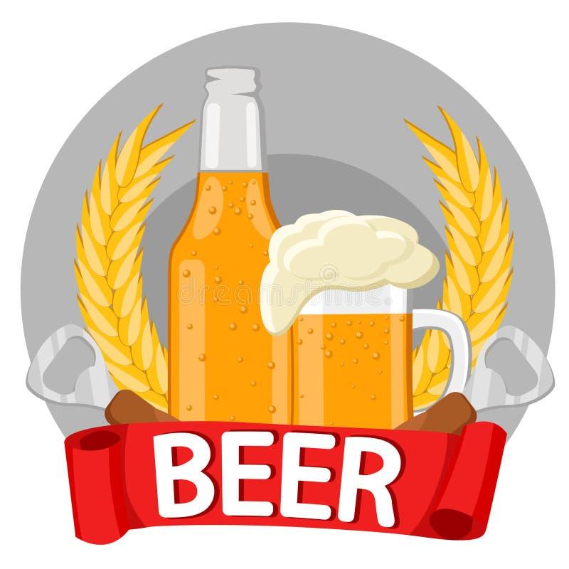 Ένα μπουκάλι της μπύρας, μια κούπα της μπύρας, spikelets, ανοιχτήρι μπουκαλιών διανυσματική απεικόνιση