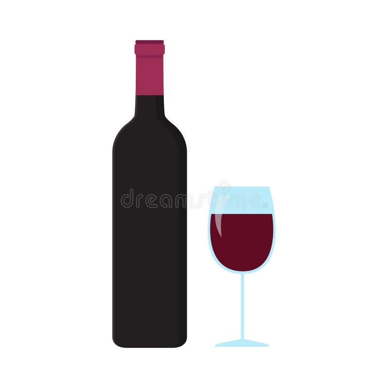 Ένα μπουκάλι και ένα ποτήρι του κρασιού ελεύθερη απεικόνιση δικαιώματος