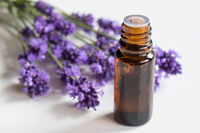 Ένα μπουκάλι lavender του ουσιαστικού πετρελαίου σε ένα άσπρο υπόβαθρο στοκ φωτογραφίες