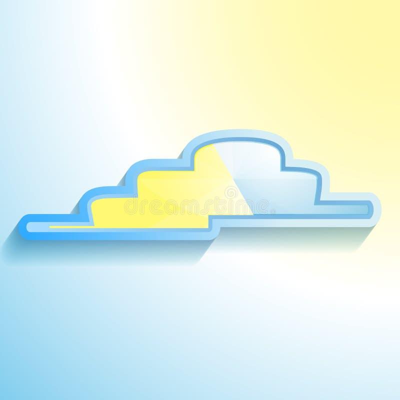 ένα μπλε-κίτρινο εικονίδιο σύννεφων στοκ εικόνες με δικαίωμα ελεύθερης χρήσης
