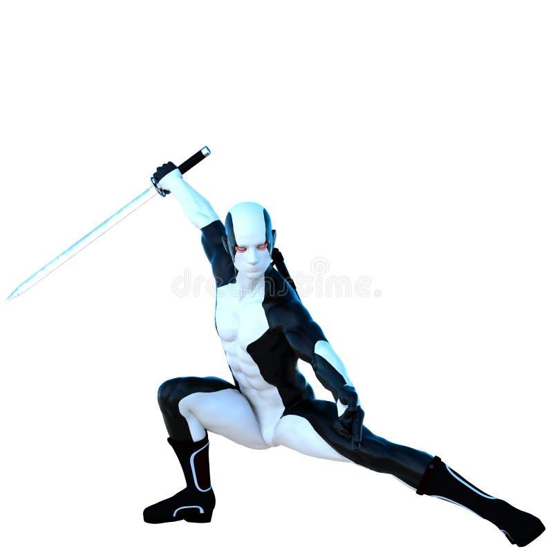 Ένα νέο ισχυρό άτομο σε ένα άσπρο και μαύρο έξοχο κοστούμι ελεύθερη απεικόνιση δικαιώματος
