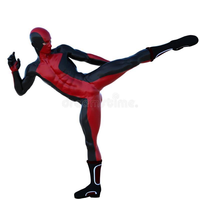 Ένα νέο ισχυρό άτομο σε ένα κόκκινο και μαύρο έξοχο κοστούμι Έχει ένα πόδι επάνω διανυσματική απεικόνιση