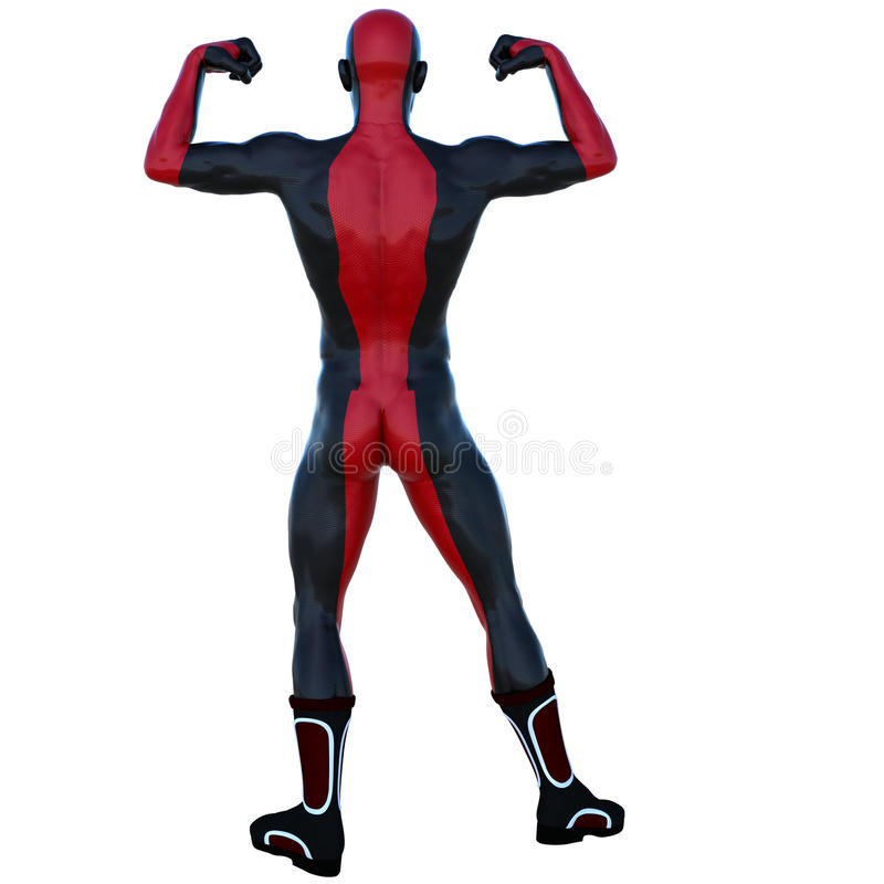 Ένα νέο ισχυρό άτομο σε ένα κόκκινο και μαύρο έξοχο κοστούμι Τοποθέτηση παρουσιάζοντας μυς του απεικόνιση αποθεμάτων
