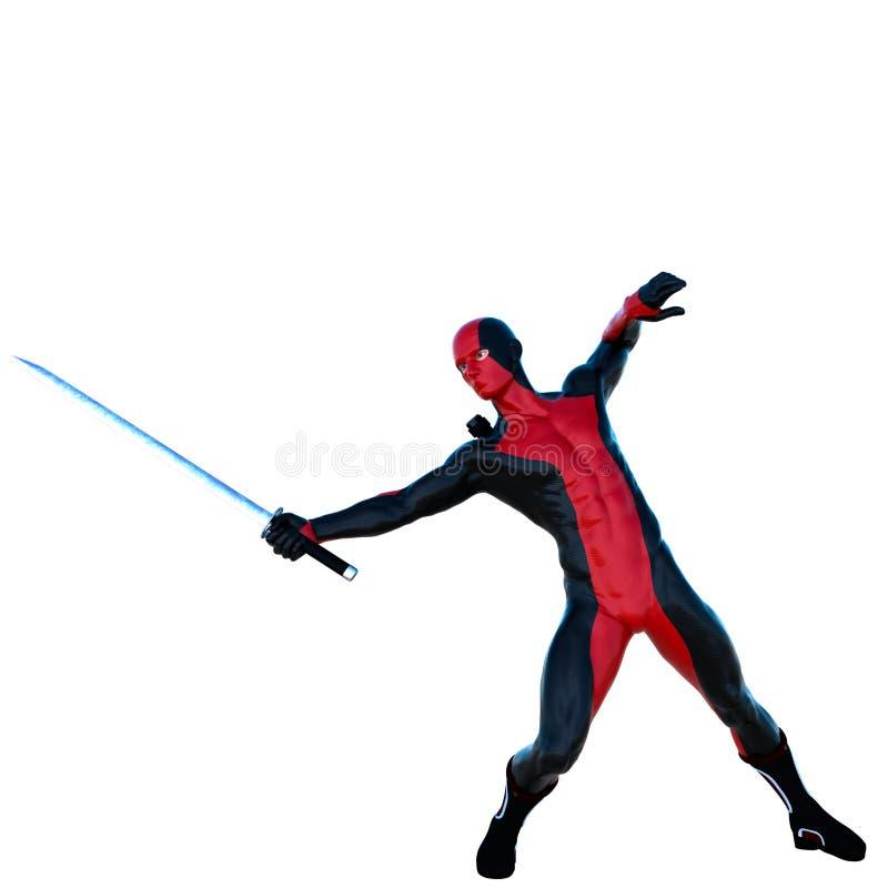 Ένα νέο ισχυρό άτομο σε ένα κόκκινο και μαύρο πλήρες κοστούμι λατέξ ελεύθερη απεικόνιση δικαιώματος
