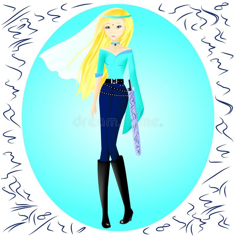 Ένα νέο κορίτσι, η σύζυγος σουλτάνων ` s μπλε τοπ, μπλε εσώρουχα και BL διανυσματική απεικόνιση