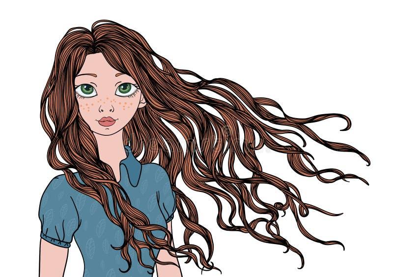 Ένα νέο κορίτσι με πολύ να κυματίσει στην τρίχα αέρα Διανυσματική απεικόνιση πορτρέτου, που απομονώνεται στο λευκό διανυσματική απεικόνιση