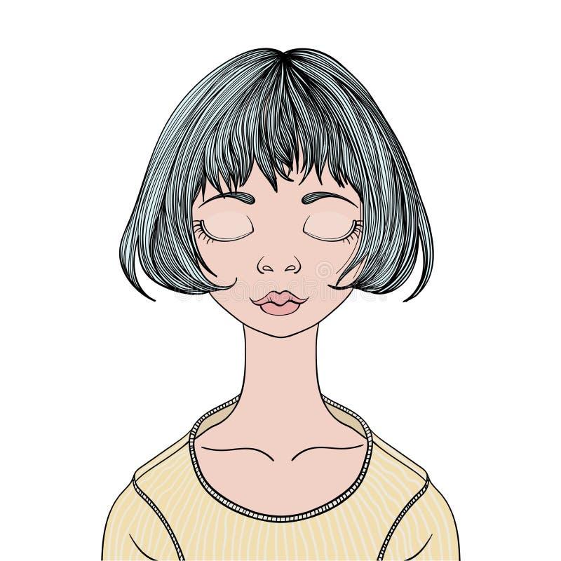 Ένα νέο κορίτσι με τις ιδιαίτερες προσοχές Διανυσματική απεικόνιση πορτρέτου, που απομονώνεται στο λευκό απεικόνιση αποθεμάτων