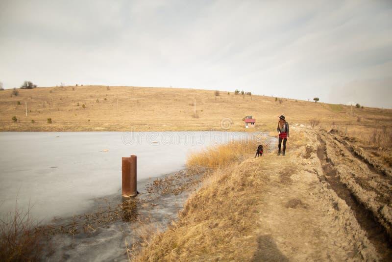 Ένα νέο κορίτσι περπατά με ένα σκυλί στην ακτή μιας λίμνης στοκ φωτογραφίες με δικαίωμα ελεύθερης χρήσης