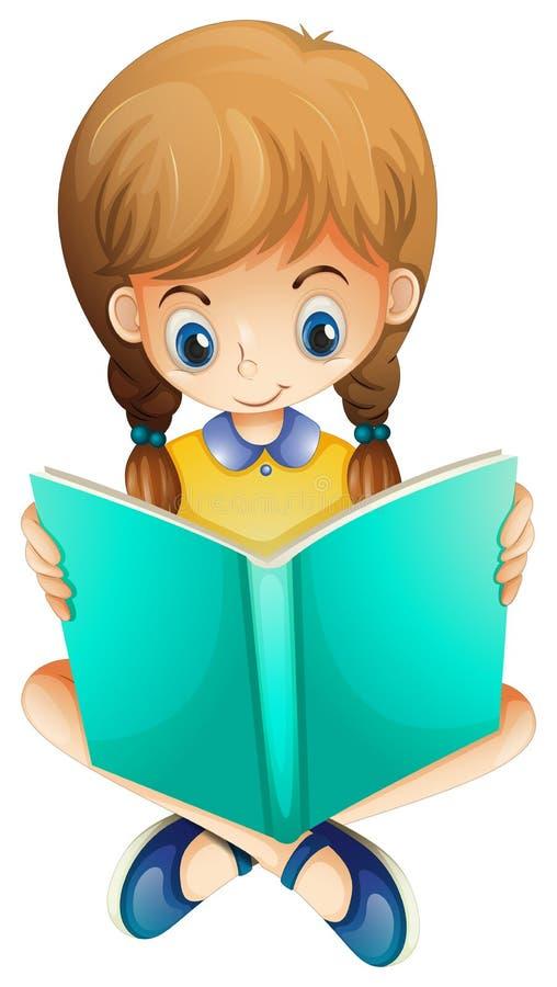 Ένα νέο κορίτσι που διαβάζει ένα βιβλίο σοβαρά απεικόνιση αποθεμάτων