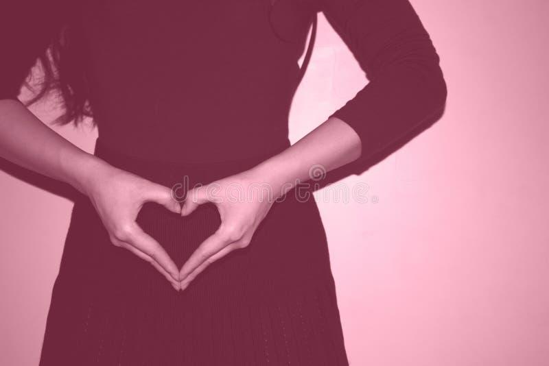 Ένα νέο κορίτσι που κάνει το σύμβολο καρδιών με τα χέρια της στοκ φωτογραφία με δικαίωμα ελεύθερης χρήσης