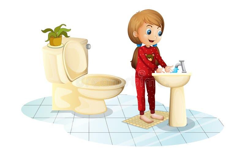 Ένα νέο κορίτσι που πλένει τα χέρια της διανυσματική απεικόνιση
