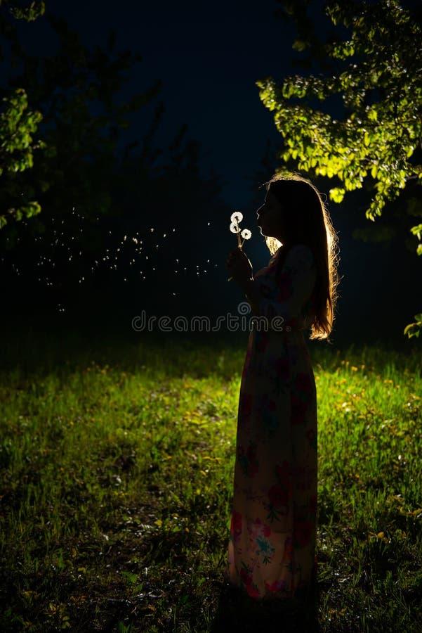 Ένα νέο κορίτσι στον κήπο νύχτας στοκ φωτογραφίες με δικαίωμα ελεύθερης χρήσης
