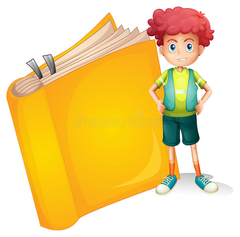Ένα νέο σγουρό αγόρι και ένα μεγάλο βιβλίο διανυσματική απεικόνιση