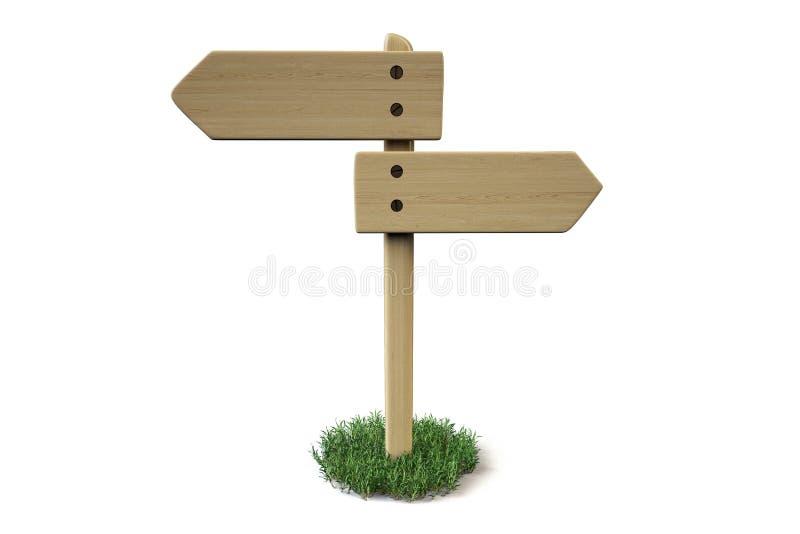 Download Ένα ξύλινο σημάδι στη χλόη απεικόνιση αποθεμάτων. εικονογραφία από backgrounder - 62717555