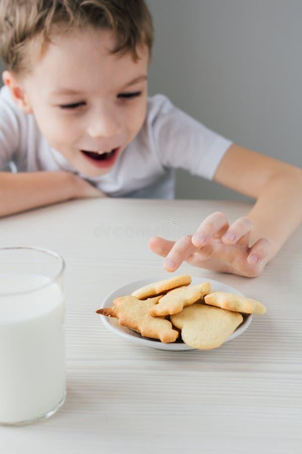 Ένα παιδί κλέβει από ένα πιάτο των πρόσφατα ψημένων σπιτικών μπισκότων στοκ εικόνες