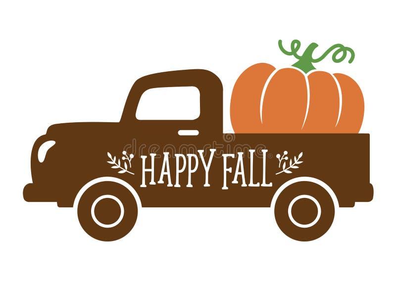 Ένα παλαιό εκλεκτής ποιότητας φορτηγό που φέρνει μια κολοκύθα το φθινόπωρο διανυσματική απεικόνιση