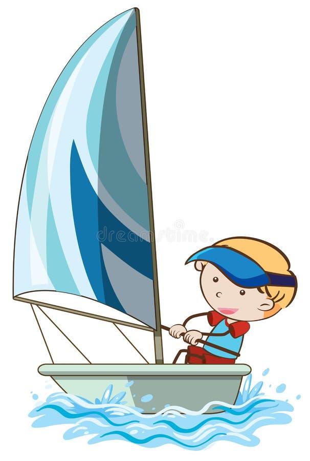 Ένα πανί αγοριών η βάρκα διανυσματική απεικόνιση