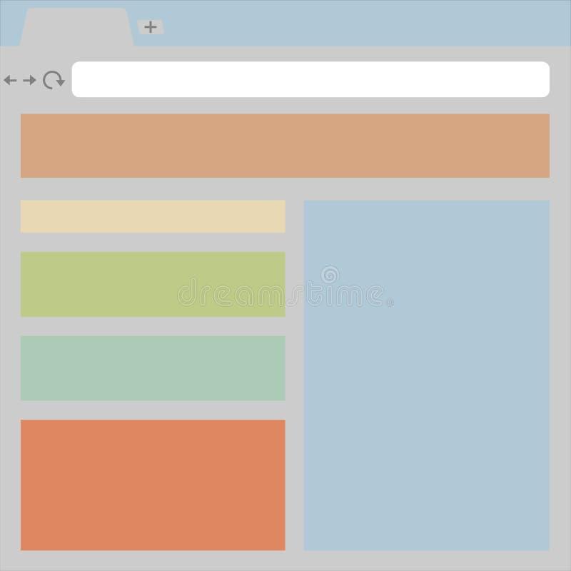 Ένα παράδειγμα ενός παραθύρου μηχανών αναζήτησης με ανοικτή ιστοσελίδας διανυσματική απεικόνιση